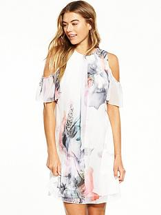 little-mistress-floral-cold-shoulder-shift-dress