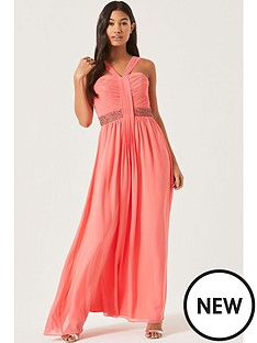 little-mistress-drape-detail-maxi-with-embellished-waist-coral