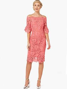paper-dolls-crochet-lace-bardot-flute-sleeve-dress-coral