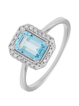 Love Gem 9Ct White Gold Swiss Blue Topaz And 9 Point Diamond Ring