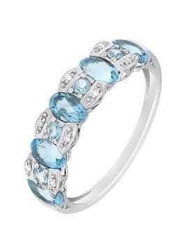 Love Gem 9Ct White Gold Swiss Blue Topaz And Diamond Set Ring