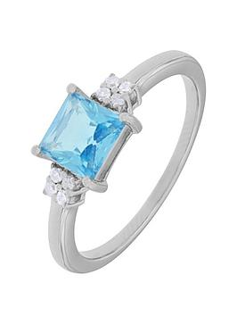 Love Gem Sterling Silver Rhodium Plated Blue Topaz And 7 Point Diamond Princess Cut Ring
