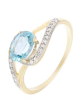 Love Gem 9Ct Yellow Gold Blue Topaz And 10 Point Diamond Ring