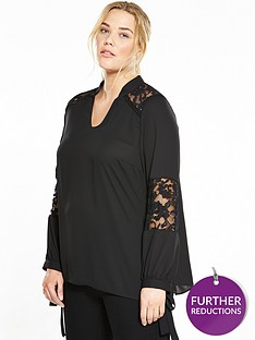 v-by-very-curve-lace-tie-sleeve-blouse-black