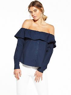 fashion-union-bardot-ruffle-shirt-navy
