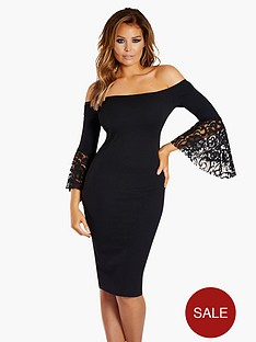 jessica-wright-bardot-lace-flare-sleeve-bodycon-dress-black
