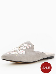office-floral-withnbspembroiderednbspflat-mules-grey