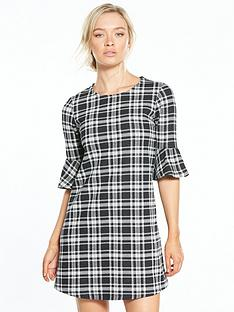 river-island-check-flute-sleeve-dress