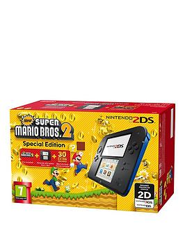 Nintendo 2Ds Black And Blue Console With Super Mario Bros 2