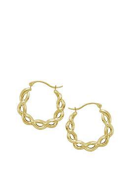 Love Gold 9Ct Gold 2 Tone Twist Hoop Earrings