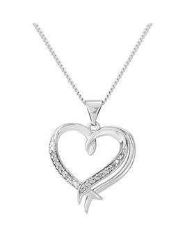 Love Diamond Sterling Silver Diamond Heart Pendant