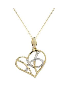 Love Diamond 9Ct Gold Diamond Set Filigree Heart Pendant