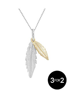love-silver-sterling-silver-2-tone-feather-pendant