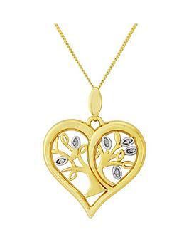 Love Diamond 9Ct Gold Diamond Set Family Tree Heart Pendant
