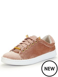miss-selfridge-nude-velvet-trainer