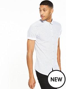 river-island-slim-fit-short-sleeve-polka-dot-shirt