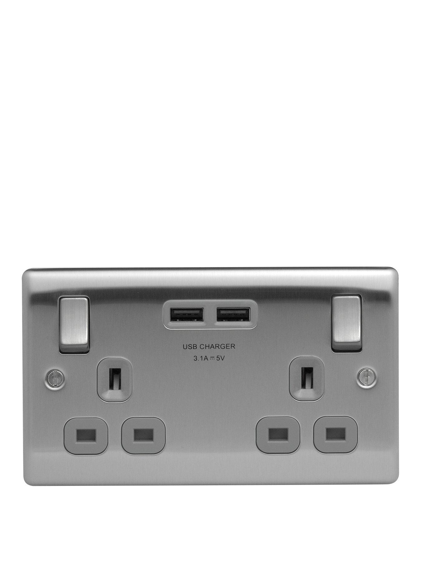 Compare prices for British General Brushed Steel Double Switched Socket With X2 USB Sockets -3.1A