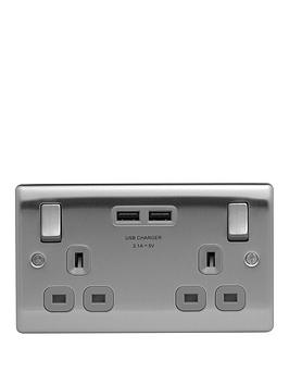 British General   Brushed Steel Double Switched Socket With X2 Usb Sockets -3.1A
