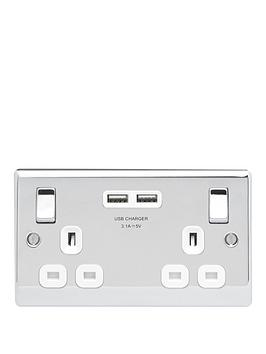 British General   Polished Chrome Double Switched Socket With X2 Usb Sockets - 3.1A
