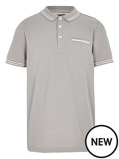 river-island-boys-grey-tipped-short-sleeve-polo-shirt
