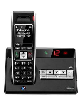 BT  Bt Bt Diverse 7450 Plus Single Dect Phone With Answer Machine - Black