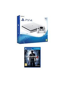 Playstation 4 Slim 500Gb White Console With Uncharted 4  A ThiefS End Plus Optional Extra Controller AndOr 12 Months Playstation Network  500Gb White Slim Console With Uncharted 4  A ThiefS End
