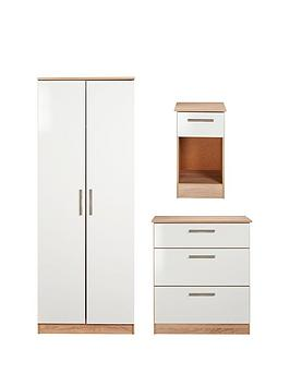 Swift Montreal Gloss 3-Piece Ready Assembled Package &Ndash; 2-Door Wardrobe, 3-Drawer Chest And Bedside Table