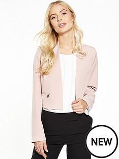 wallis-zip-pocket-blazer-blush