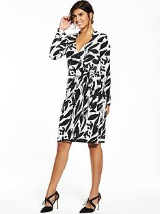 wallis-neutral-print-wrap-dress-blackwhite