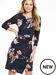 wallis-blossom-floral-ruched-side-dress