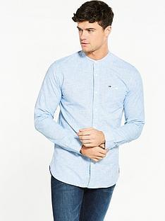 hilfiger-denim-hilfiger-denim-solid-grandad-collar-ls-shirt