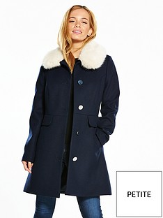 v-by-very-petite-petite-dolly-coat-with-faux-fur-collar-navy