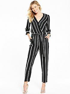 wallis-stripe-wrap-jumpsuit-monochrome
