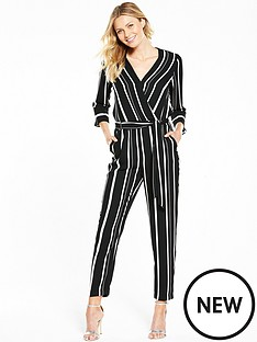 wallis-wallis-stripe-wrap-jumpsuit