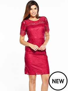 wallis-red-stripe-lace-shift-dress