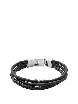 Fossil Fossil Tri Tone Mens Leather Wrap Bracelet
