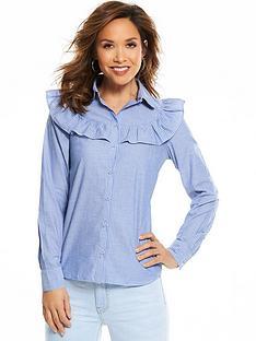 myleene-klass-ruffle-front-poplin-blouse