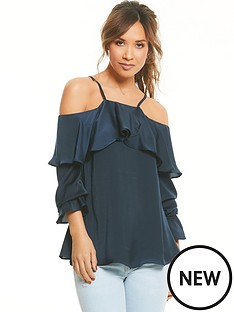 myleene-klass-cold-shoulder-ruffle-front-blouse-navy