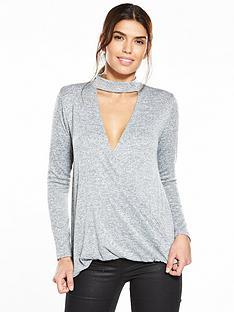 v-by-very-drape-front-choker-jersey-knit-top