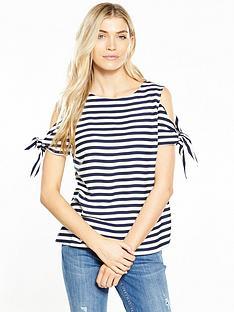 oasis-stripe-tie-shoulder-top-navy