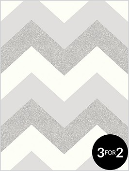 ARTHOUSE Glitter Chevron Platinum Wallpaper