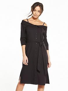 neon-rose-cotton-bardot-dress-black