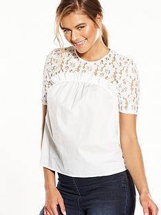 miss-selfridge-lace-contrast-poplinnbsptee