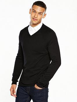 v-by-very-mens-v-neck-jumper-black