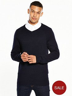 v-by-very-mens-v-neck-jumper-navy