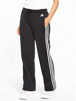 Adidas Essentials 3 Stripe Open Hem Pants  Black