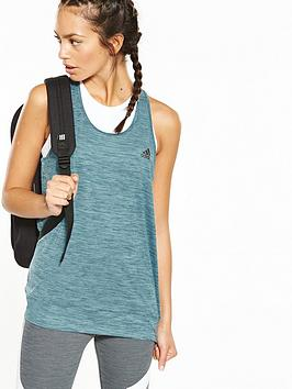 Adidas Perforated Banded Tank  Petrol Blue