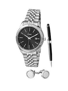 limit-limit-black-dial-stainless-steel-bracelet-watch-pen-amp-cufflink-mens-gift-set