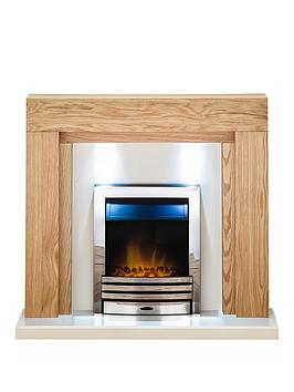Adam Fire Surrounds Beaumont Fireplace Suite In Oak With Eclipse Electric Fire In Chrome