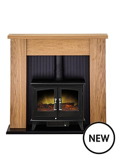 adam-fire-surrounds-new-england-stove-suite-in-oak-with-woodhouse-electric-stove-in-black